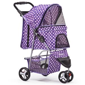 i.Pet 3 Wheel Pet Stroller - Purple