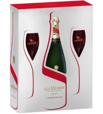 G.H. Mumm Champagne twin flute gift pack (3 sets) France