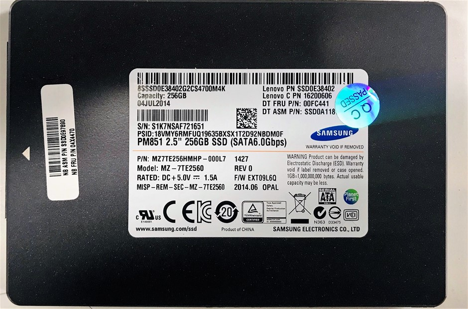 Samsung 2.5`` 256GB Solid State Drive Part Number: MZ7TE256HMHP-000L7