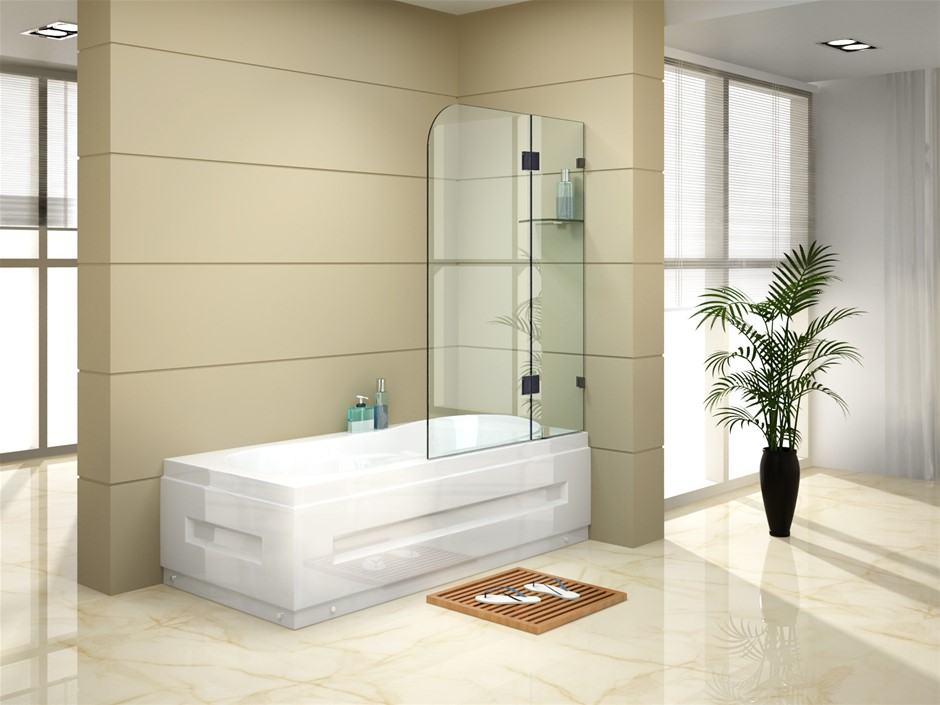 900 x 1450mm Frameless Bath Panel 10mm Glass Shower Screen