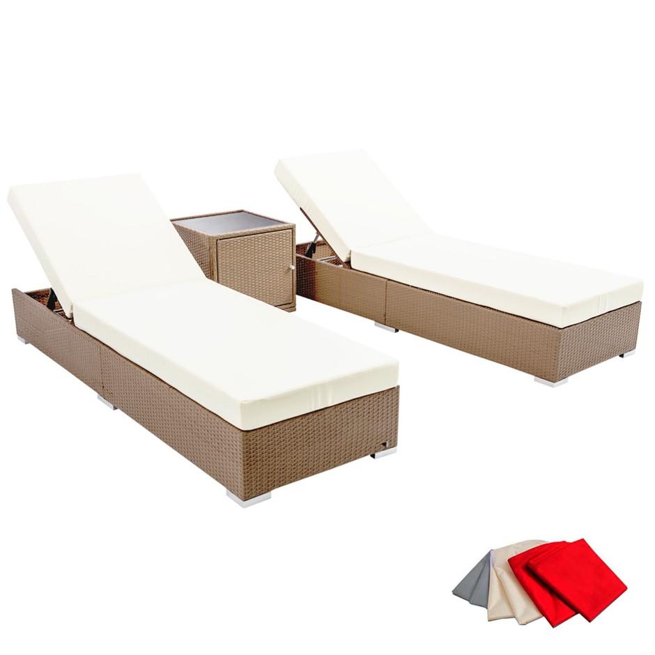 Buy gardeon 3 piece outdoor wicker lounge set brown graysonline australia