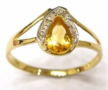 Genuine Diamond & Citrine 9K Yellow Gold Ring