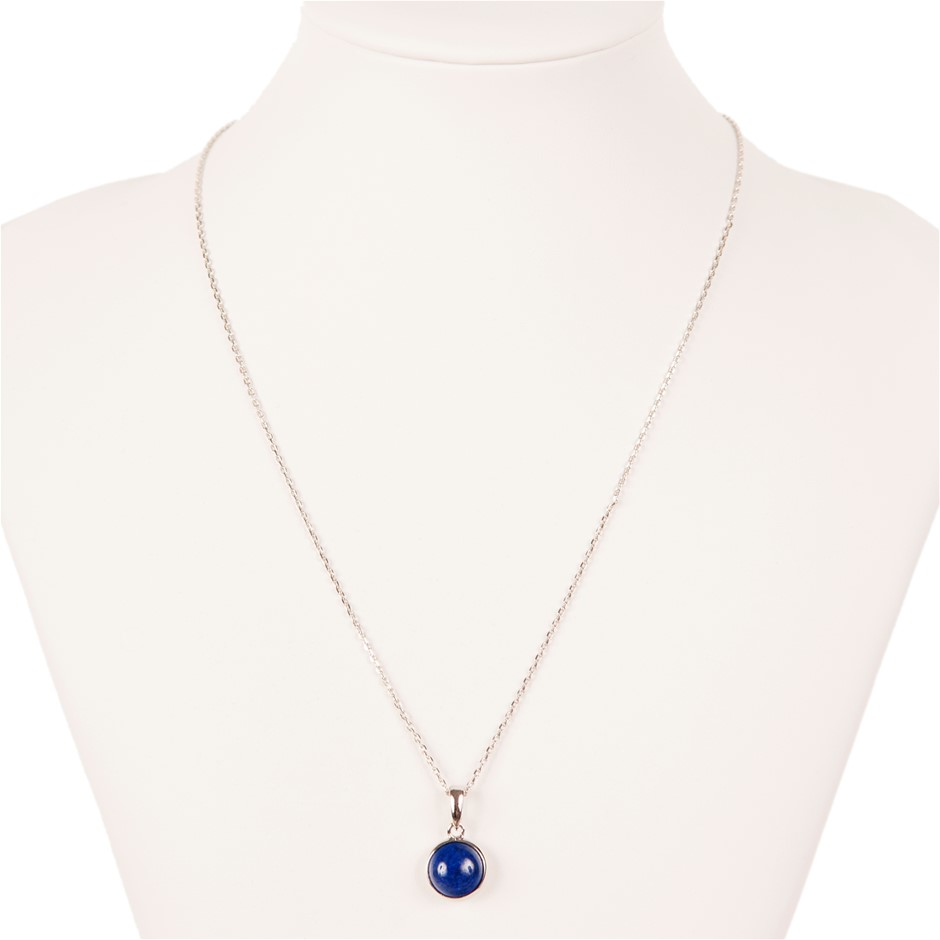 Lapis Lazuli Set Sterling Silver Pendant And Necklace