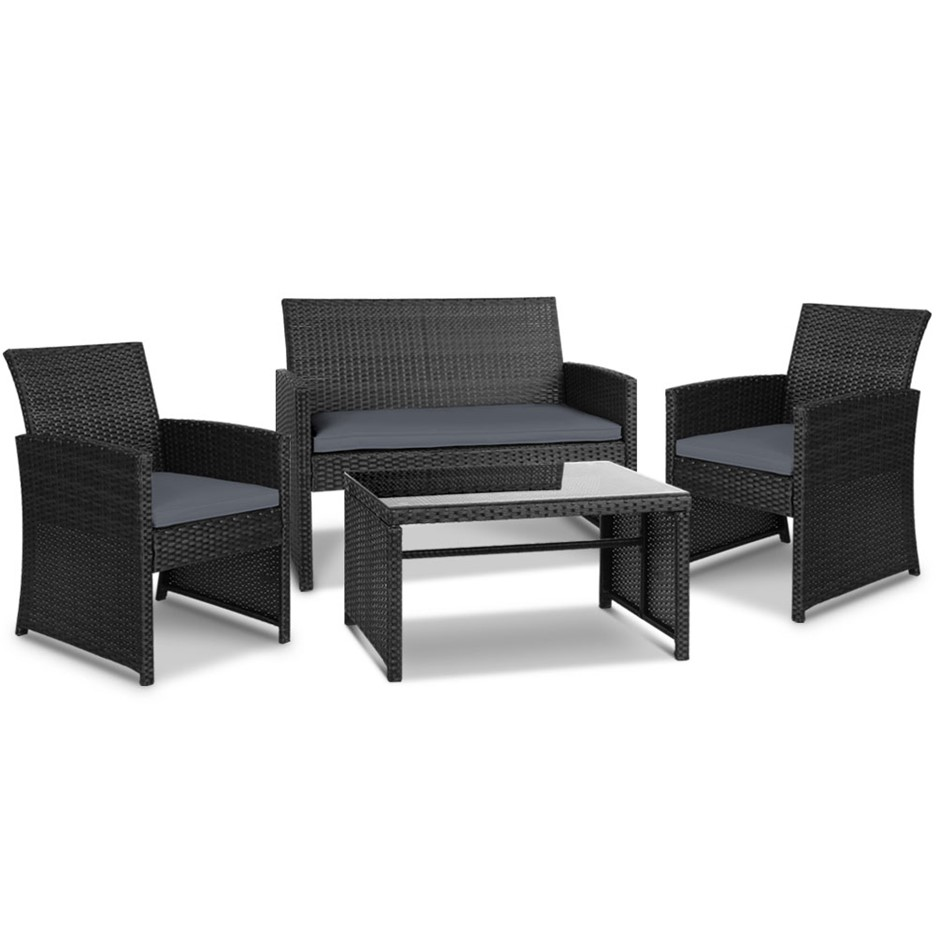 Gardeon Outdoor 4 Piece Rattan Set - Black