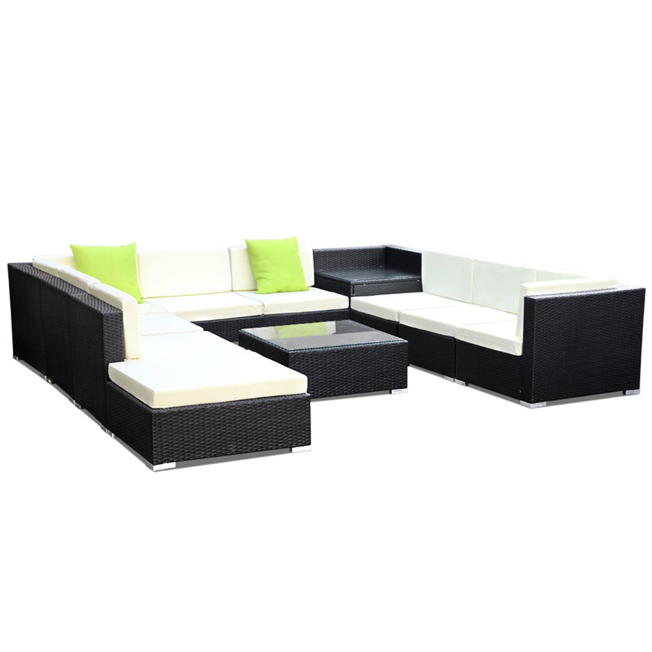 Gardeon 11 Piece Outdoor Furniture Set Wicker Sofa Lounge