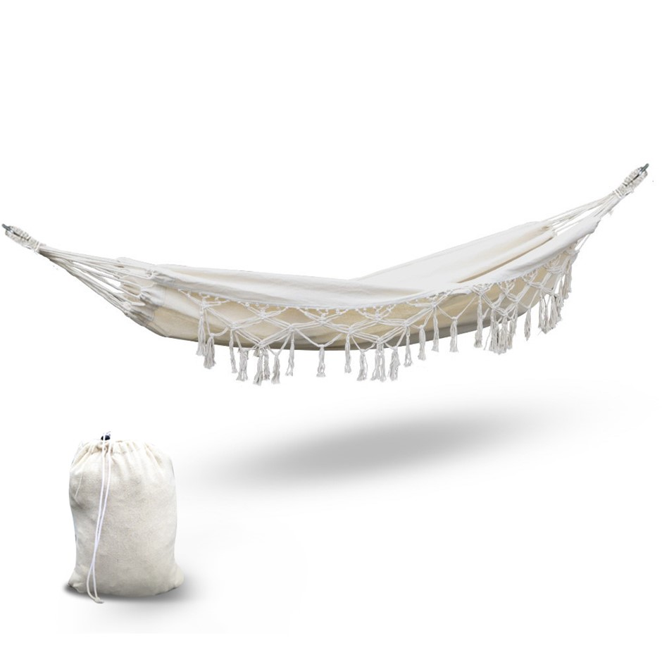 Gardeon Hammock Tassel Swing Chair - Cream