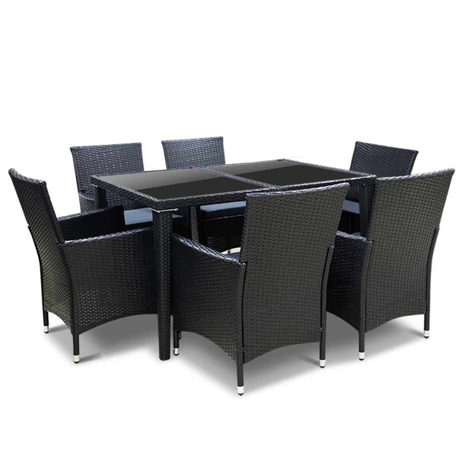 Gardeon 7 Piece Outdoor Dining Set - Black