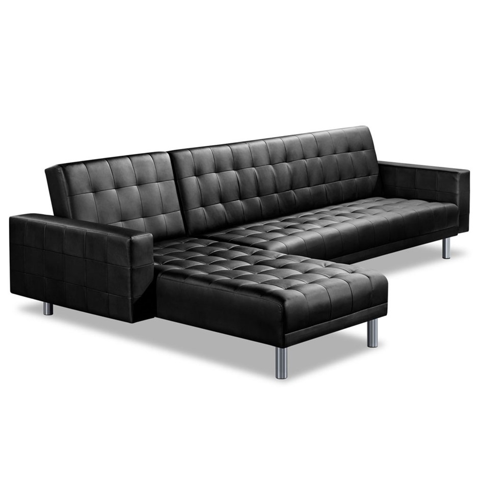 Artiss Pu Leather 4 Seater Sofa Bed Black