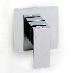 Square Chrome Wall Built-in Shower/Spout