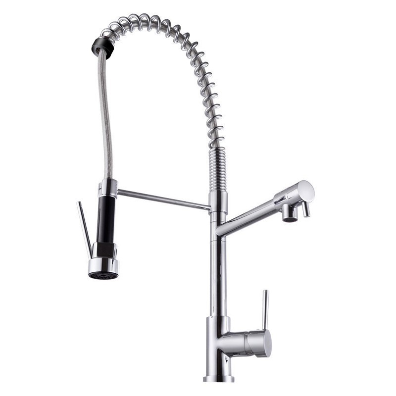 Chrome Double Spout Pull Out Kitchen Mixer Tap Shower Spray Head