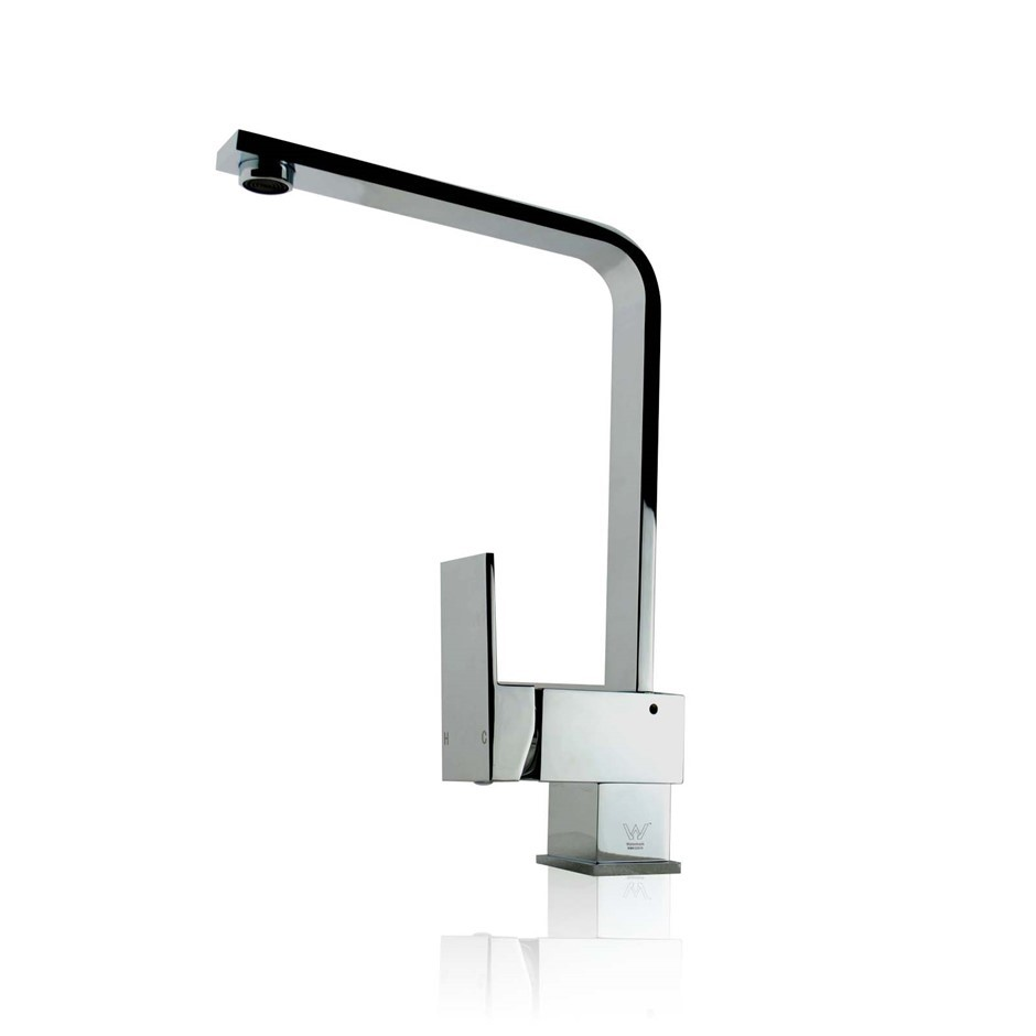 Square Standard Chrome Kitchen Sink Mixer Tap Brass Lead Free