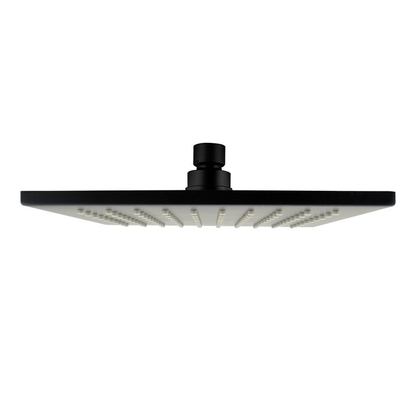 """12"""" Square Black Rainfall Shower Head(Brass), Watermark and WELS Approved"""