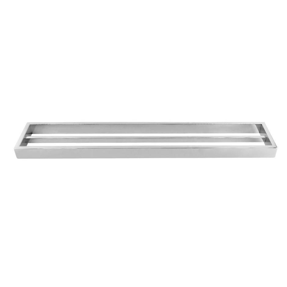 Square Chrome 304 Stainless Steel Double Towel Rail Rack Bar 600mm