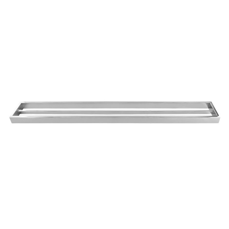 Square Chrome 304 Stainless Steel Double Towel Rail Rack Bar 800mm