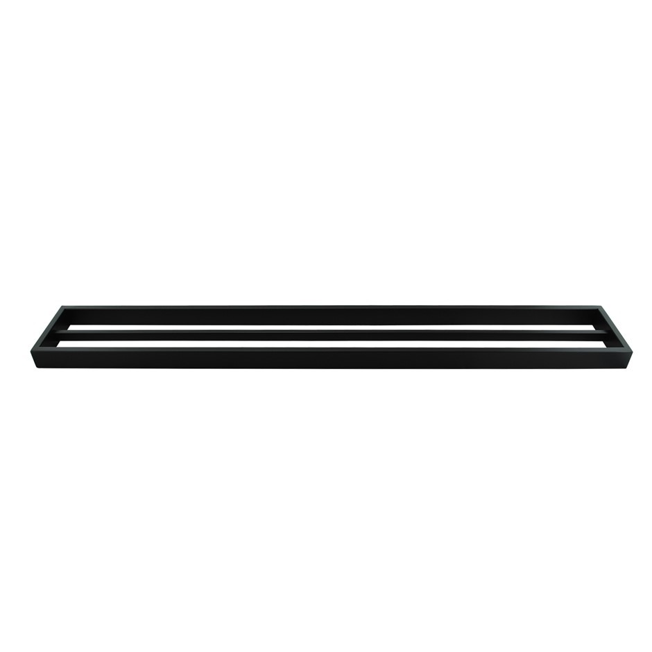 Square Matt Black 304 Stainless Steel Double Towel Rail Rack Bar 800mm