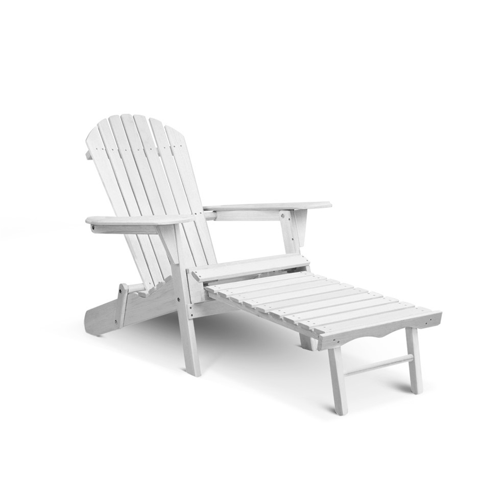 Gardeon Adirondack Chair with Ottoman - White