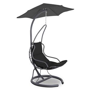 Gardeon Hanging Chair with Umbrella Blac