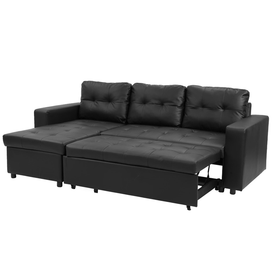 3 Seater Corner Sofa Bed Storage, Black Leather Sofa Bed With Storage