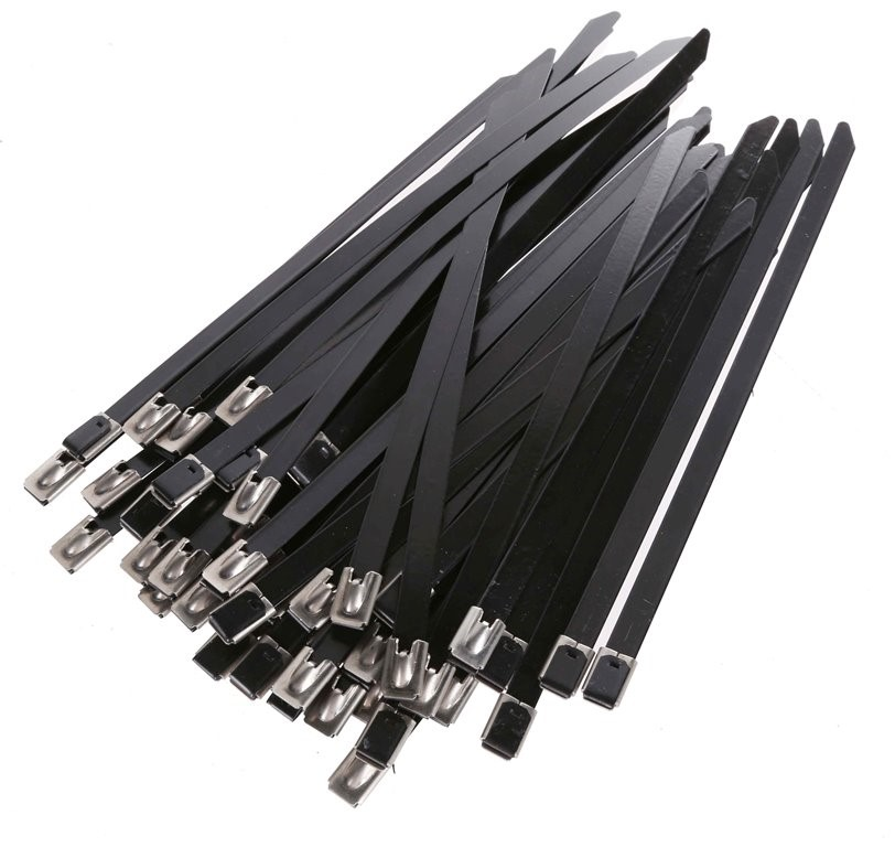 2 Pack of 50pc x Coated Stainless Steel Cable Ties, 4.6 x 200mm, Grade 304.