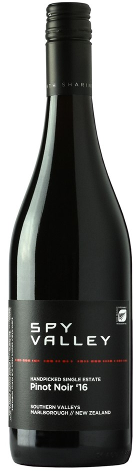 Spy Valley Pinot Noir 2016 (12 x 750mL), Marlborough, NZ.