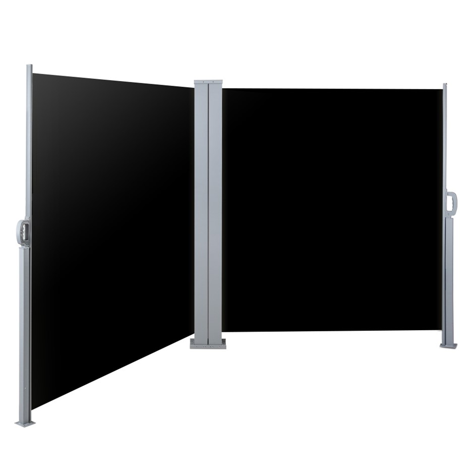 Instahut 1.8MX6M Retractable Double Side Awning Privacy Screen Shade Black