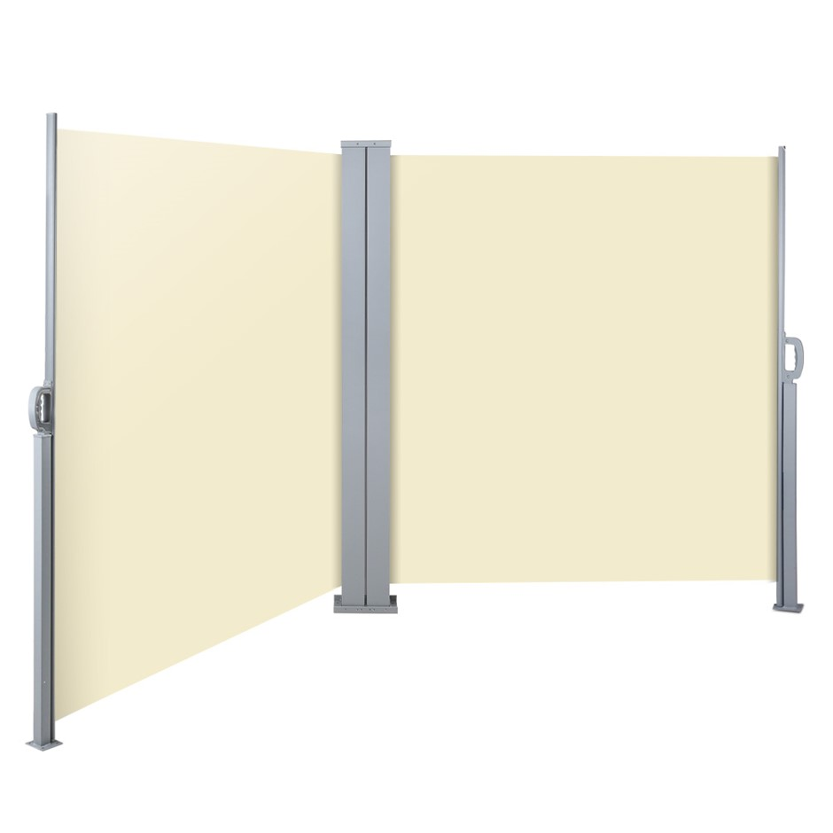 Instahut 2MX6M Retractable Double Side Awning Privacy Screen Shade Beige