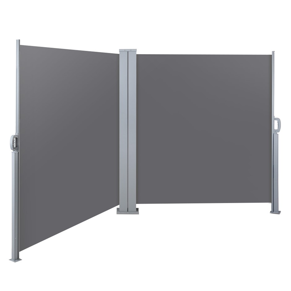 Instahut 2MX6M Retractable Double Side Awning Privacy Screen Shade Grey