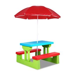 Keezi Kids Picnic Table Bench Set Umbrel