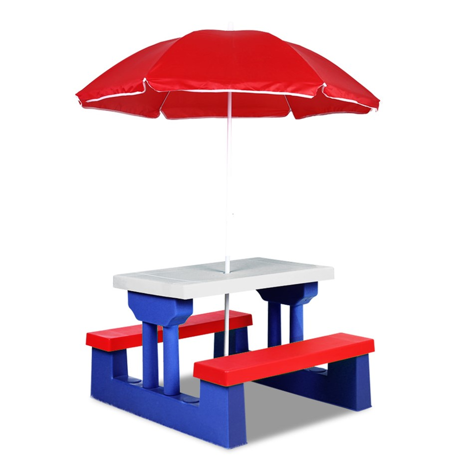 Keezi Kids Picnic Table Bench Set Umbrella Children Craft Activity White
