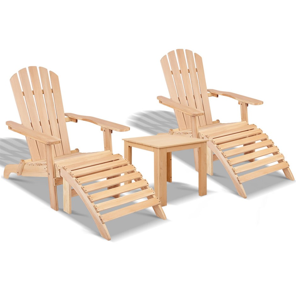 Gardeon 5pc Outdoor Beach Chair Table Wooden Patio Yard Lounge Furniture