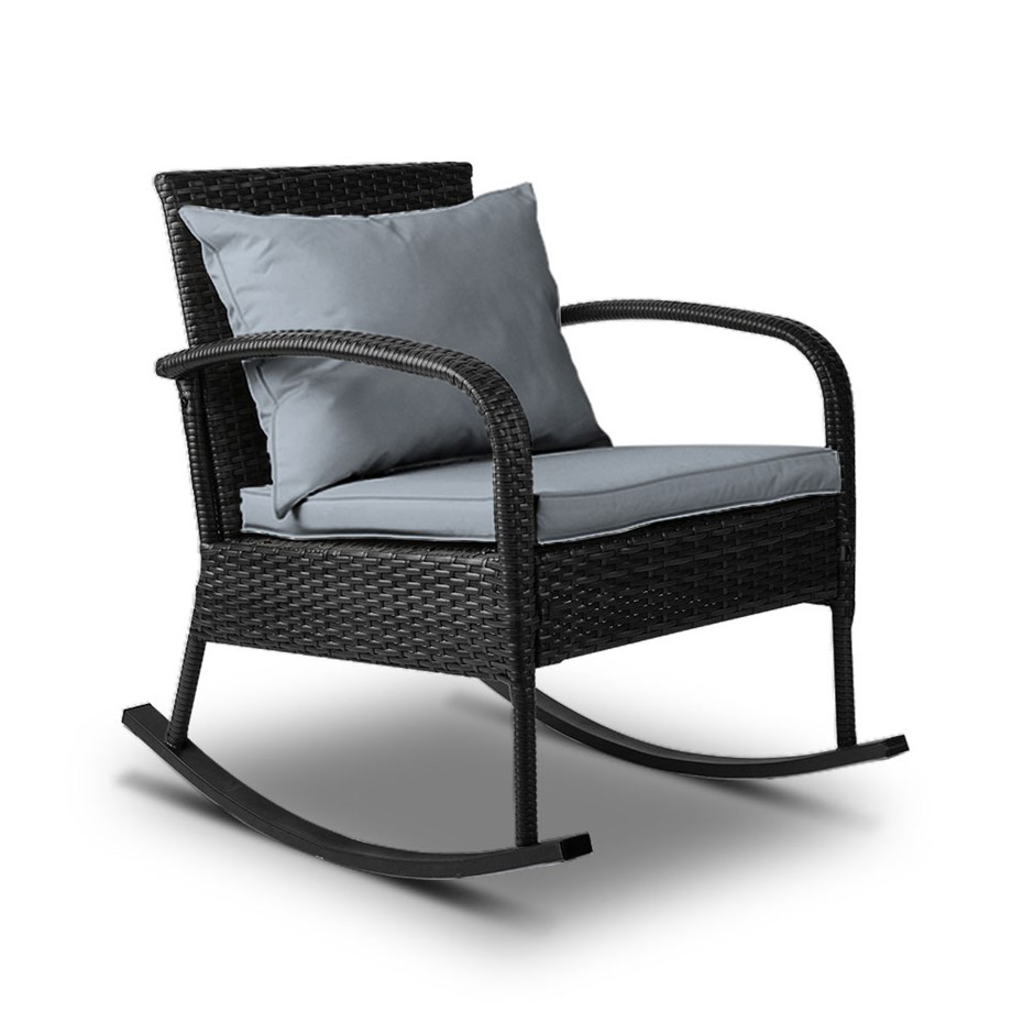 Gardeon Outdoor Furniture Rocking Chair Wicker Garden Patio Lounge Black