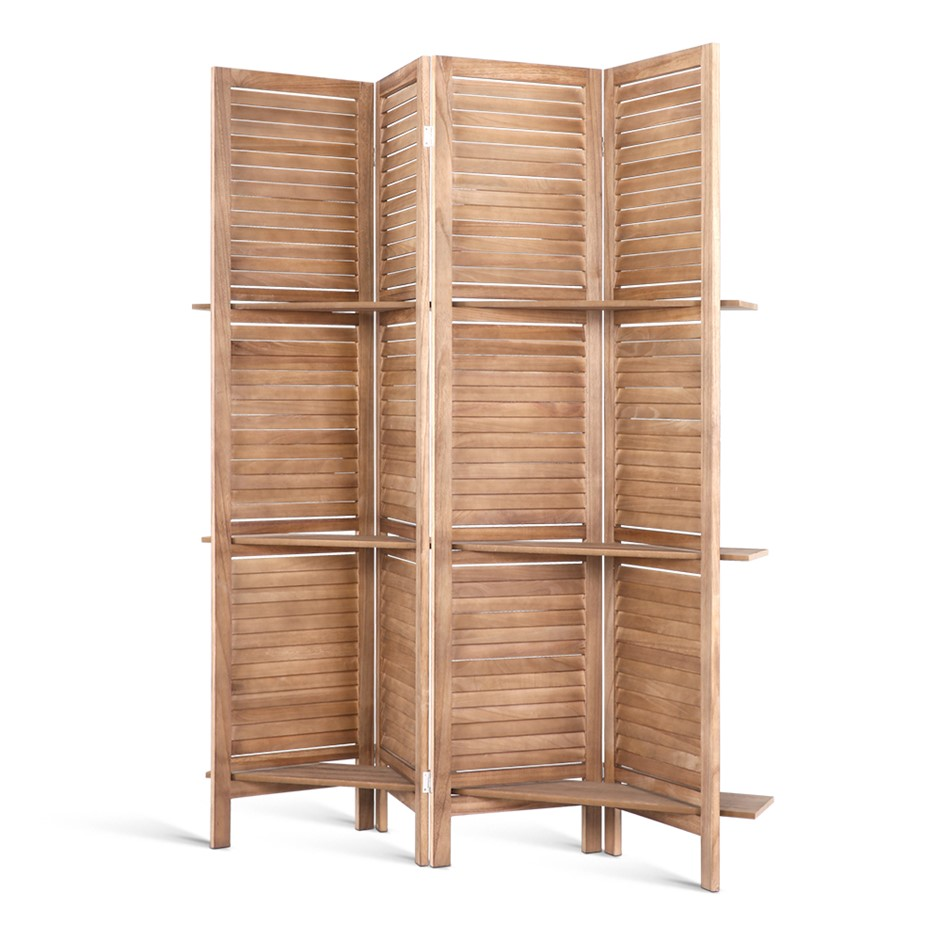 4 Panel Room Divider Screen Privacy Foldable Shelf Wooden Timber Stand