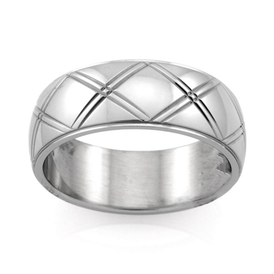 Stainless Steel Ring - Ring Size : Q