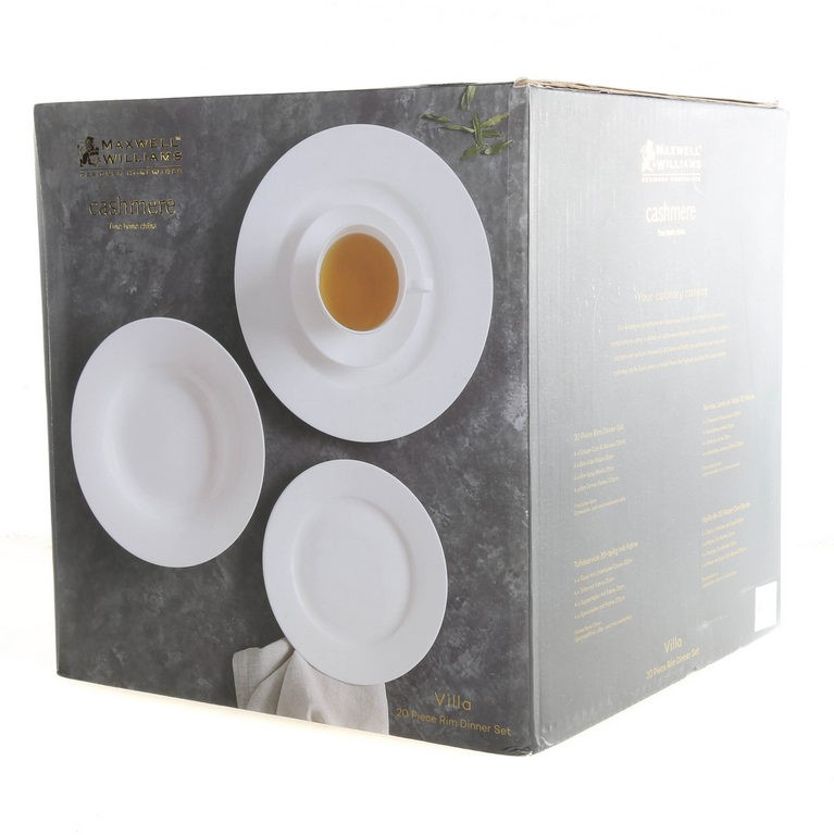 MAXWELL & WILLIAMS 20pc Cashmere Fine Bone China Rim Dinner Set, Comprising