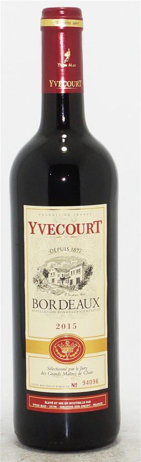 Cellier Yvecourt Bordeaux AOC Rouge 2015 (6 x 750mL) Bordeaux