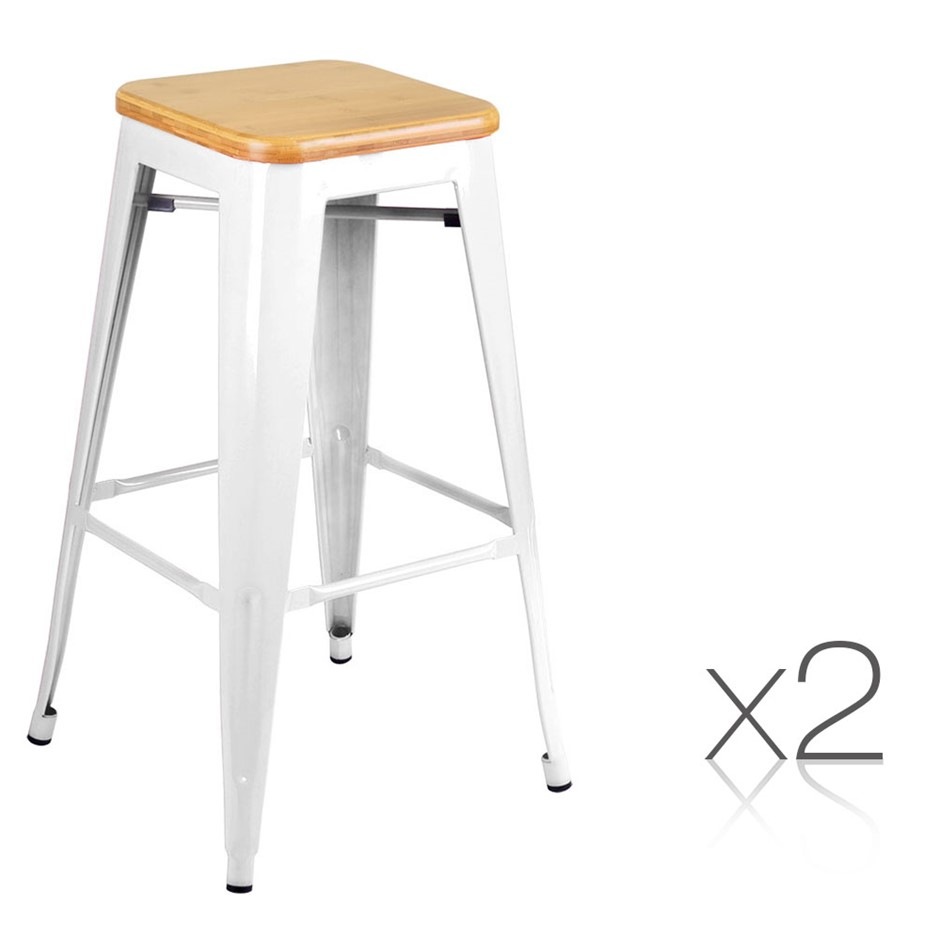 2 x Tolix Replica Xavier Bar Stool Metal Steel Chair Bamboo Seat 76cm WHITE