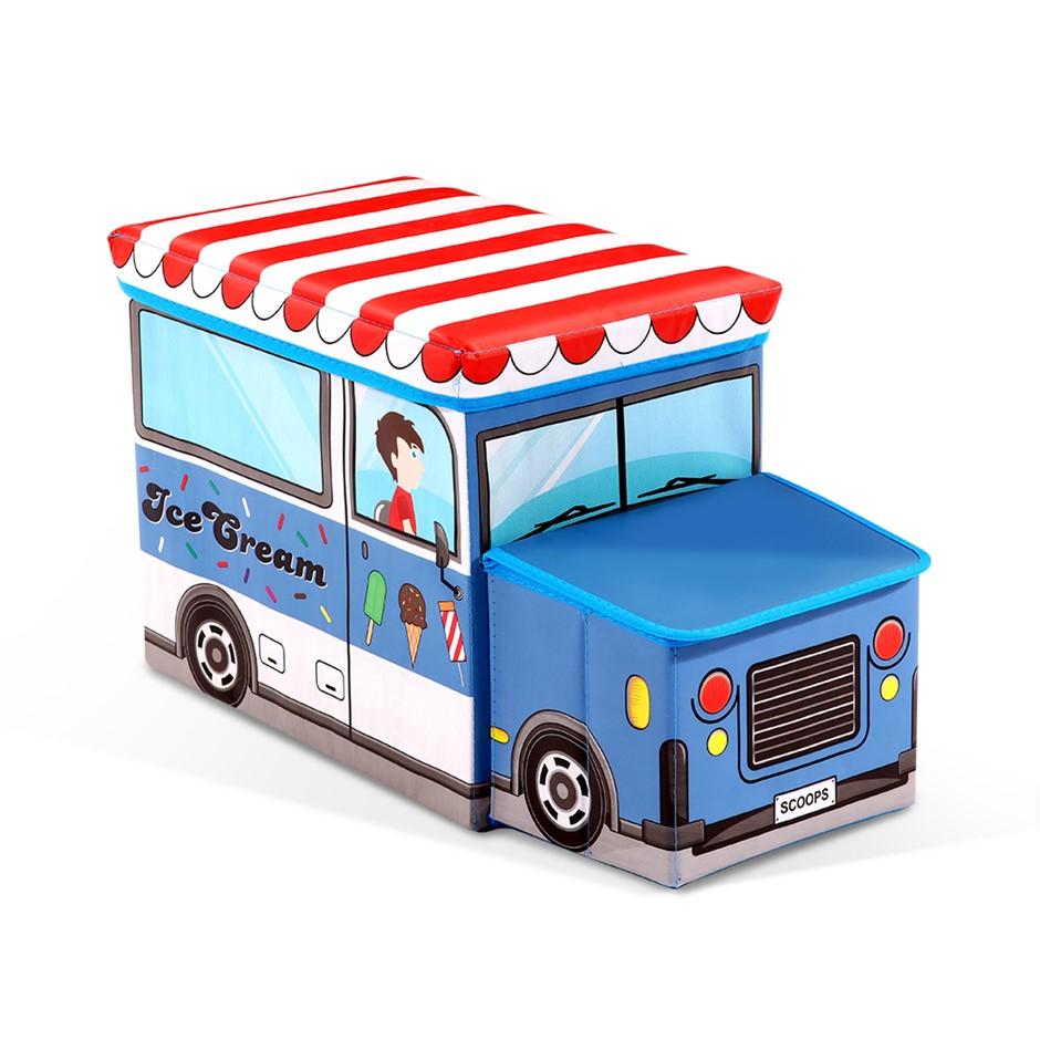 Kids Toy Box Storage Children Chair Stool Book Organiser Ice Cream Truck