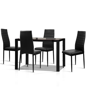 edcfc60772 Buy Artiss Astra 5-Piece Dining Table and 4 Chair Sets Glass Black ...