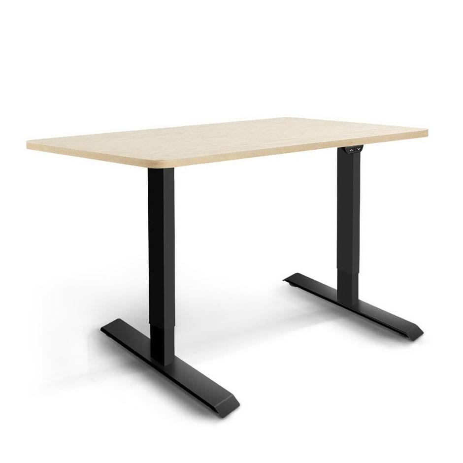 Artiss Motorised Electric Height Adjustable Standing Desk Black White Oak