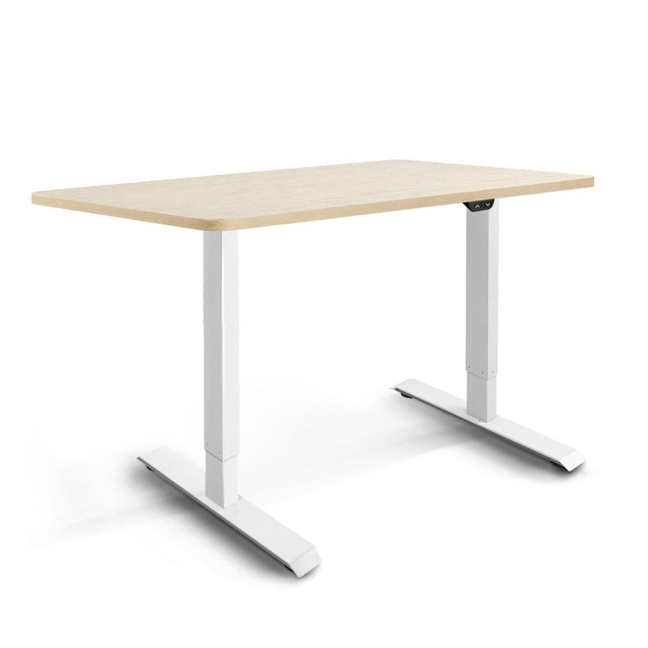 Artiss Motorised Electric Height Adjustable Standing Desk White White Oak