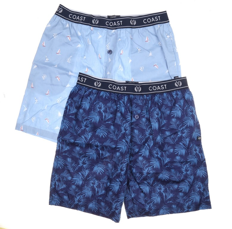 2 x COAST Men`s Clothing Lounger Shorts, Size L, Cotton, Light Blue & Dark