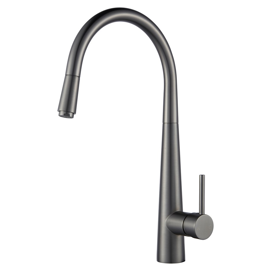 Round Gunmetal Grey Pull Out Kitchen Sink Mixer Tap