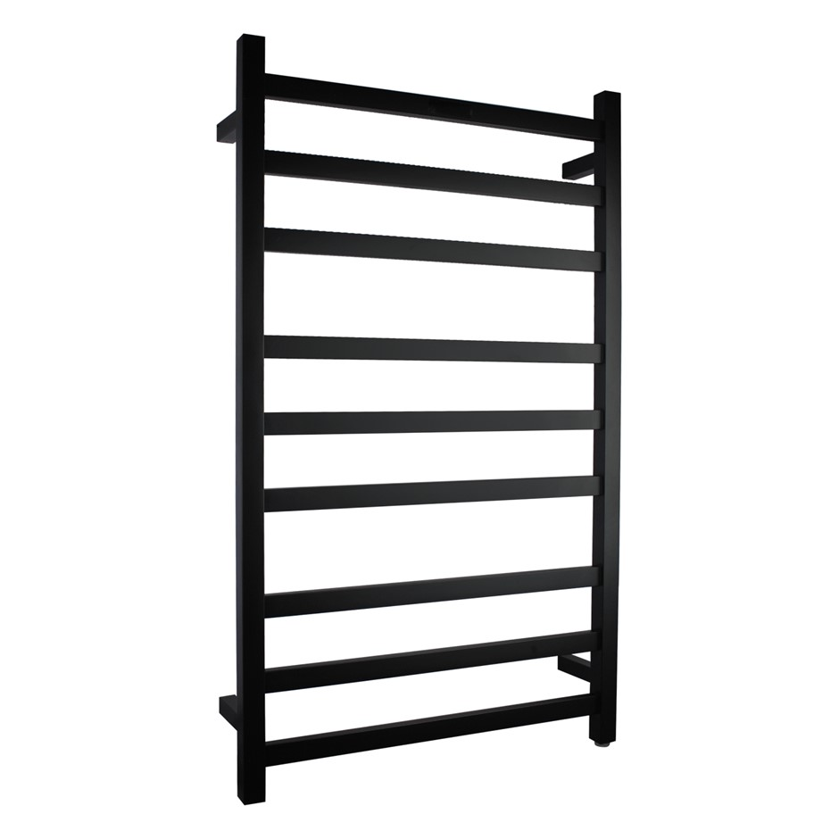 Square Matte Black Electric Heated Towel Rack 9 Bars