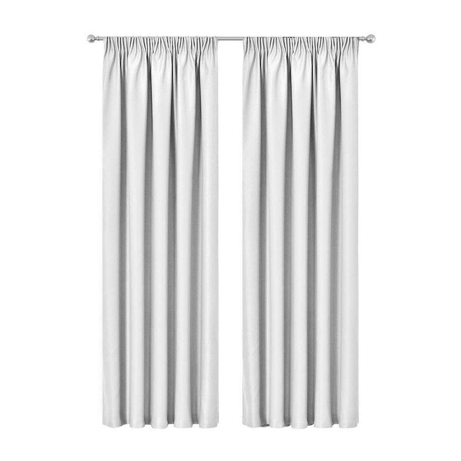Artqueen 2x Pinch Pleat Blackout Blockout Curtains Darkening 180x230cm WH