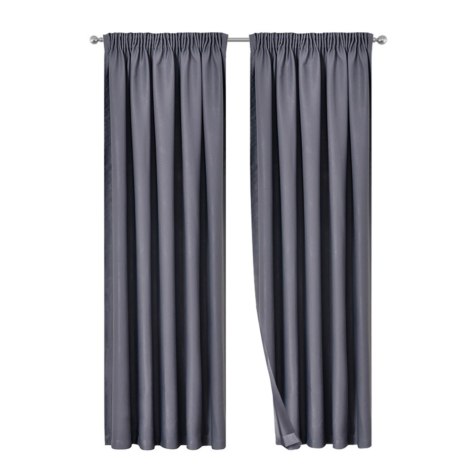 Artqueen 2x Pinch Pleat Blackout Blockout Curtains Darkening 240x230cm Grey