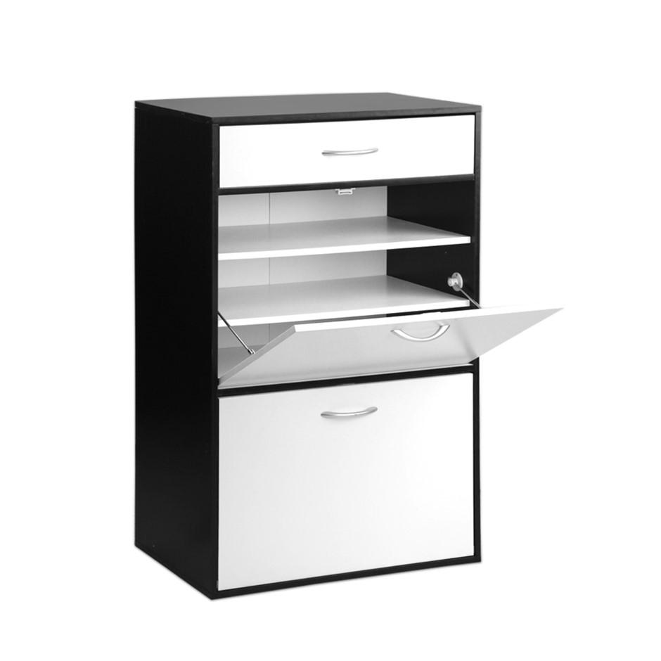 Artiss 6 Tier Shoe Cabinet - Black & White