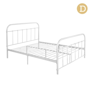 Artiss Double Size Metal Bed Frame - Whi