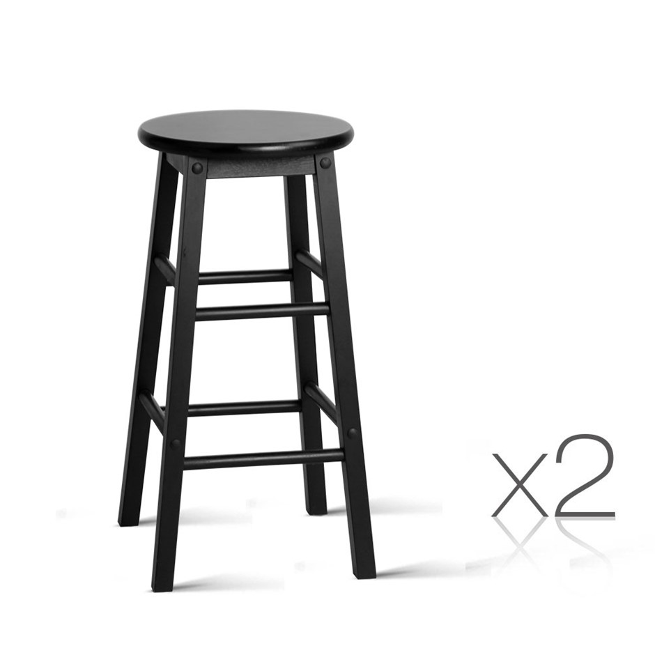 Artiss 2 x Wooden Bar Stools Dining Chairs Kitchen Black Barstools