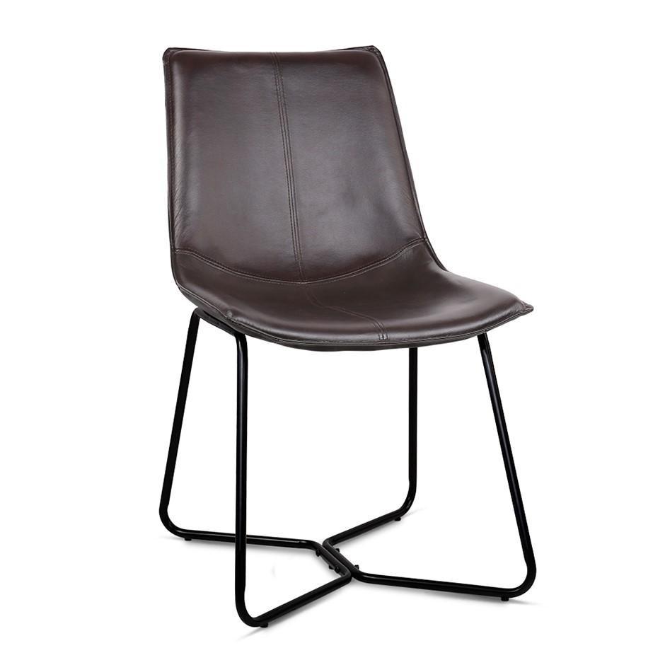Artiss Set of 2 PU Leather Dining Chair - Walnut