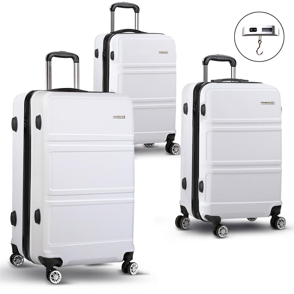 Wanderlite 3 Piece Lightweight Luggage Set - White